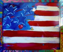 """""""Flag with Heart"""" serigraph by Peter Max"""