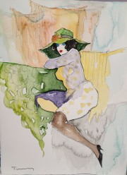 """Untitled"" 3 Original Watercolor on French Arches Paper by Itzchak Tarkay"