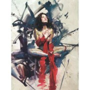 """Recognition"" Hand-Embellished Mixed Media Giclee on Canvas by Henry Asencio"