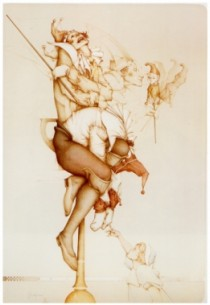 """""""Petrouchka '87"""" Hand-Pulled Stone Lithograph by Michael Parkes"""
