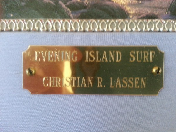 """""""Evening Island Surf""""Plate on Frame of Original Oil on Canvas by Christian Riese Lassen"""