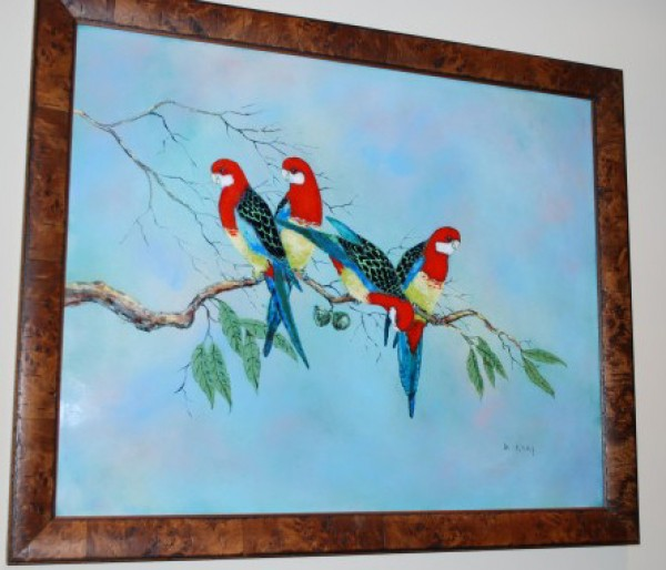 """Rosette Parrots"" Enamel on Copper by Max Karp"