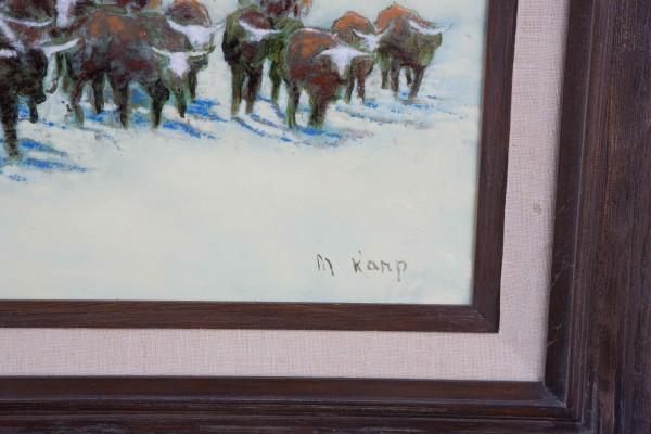 """Cattle Drive"" Enamel on Copper by Max Karp"