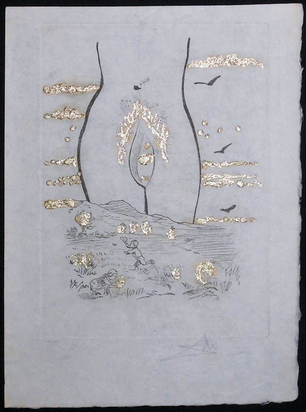 """""""To The Eternal Madam"""" (à l'Eternel Madame) Etching with Gold Flakes from """"The Golden Loves"""" Suite (Les Amours Jaunes) by Salador Dali"""