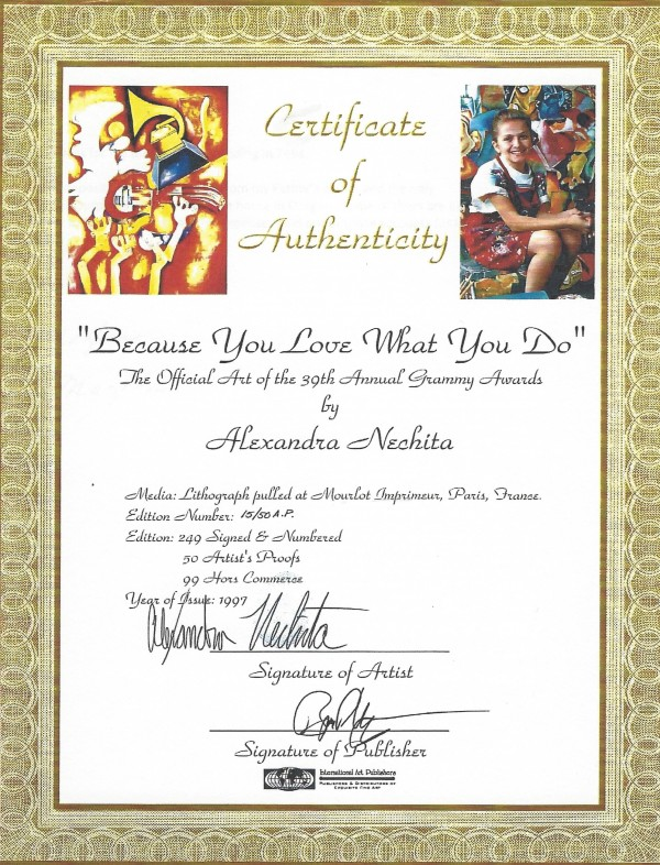 """Certificate of Authenticity for """"Because You Love What You Do"""" AP Lithograph by Alexandra Nechita"""