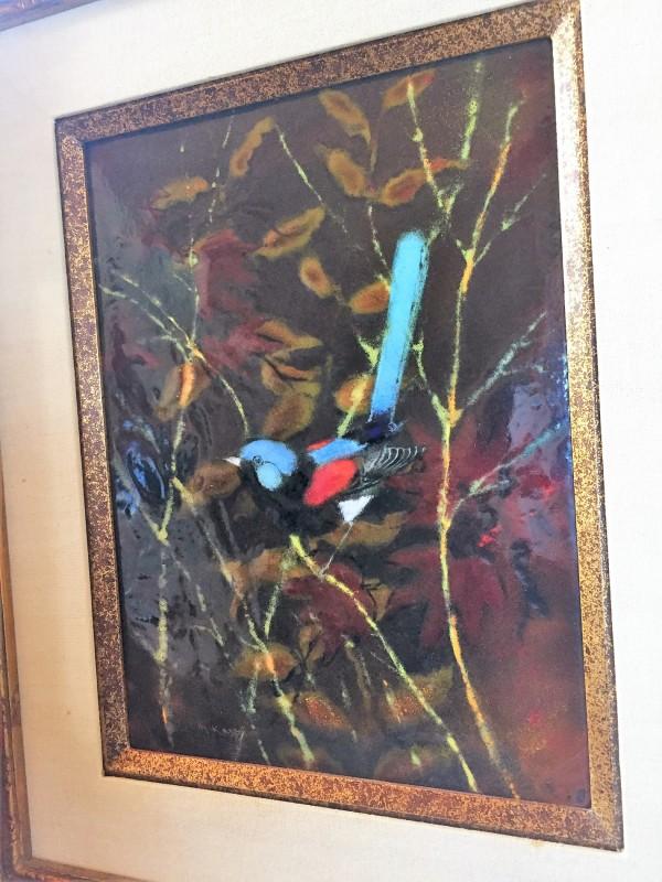 """Bird Singing"" enamel on copper by Max Karp"