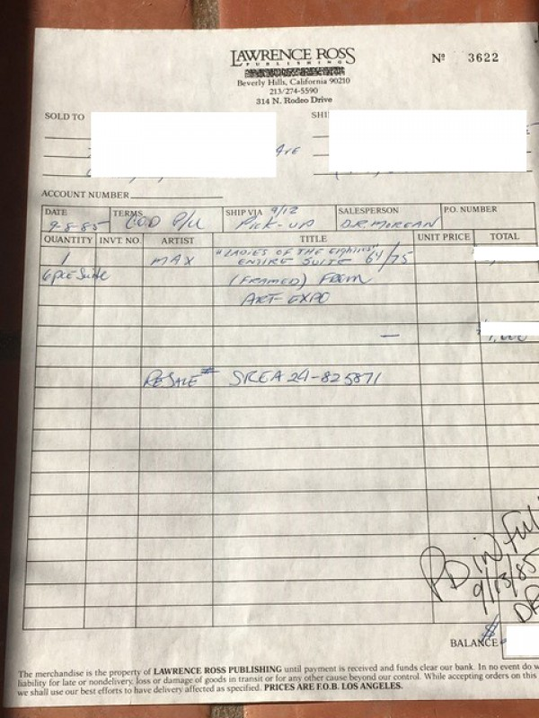 Peter Max Ladies of the Eighties original invoice dated 1984