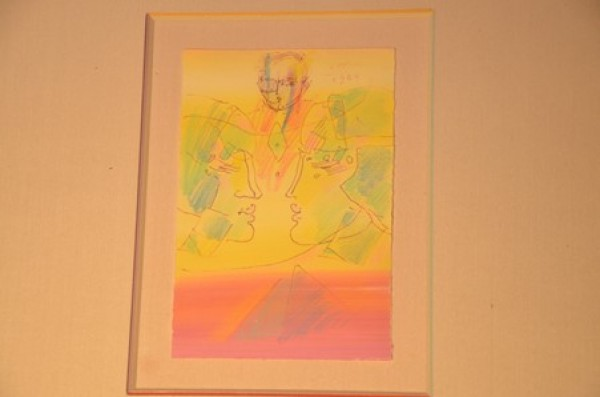 """The Pyramid"" Original Acrylic & Pen on Paper by Peter Max"