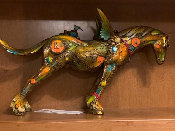 """""""Arthur the Believer"""" bronze sculpture by Nano Lopez."""