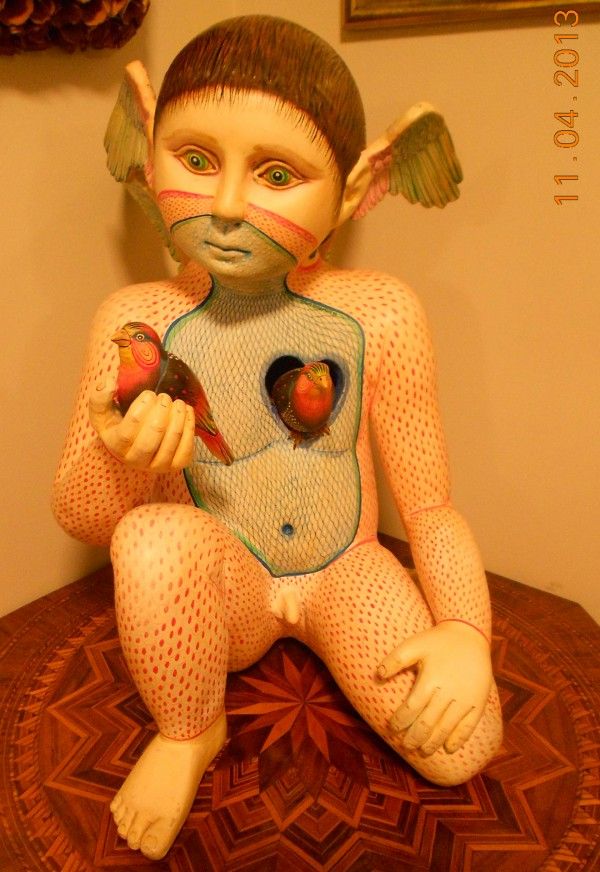 """Boy With Bird"" Unique Hand Painted Ceramic Sculpture by Sergio Bustamante"