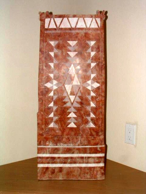 """The Back of """"Navajo Way of Life"""" Alabaster Sculpture by Alvin Marshall"""