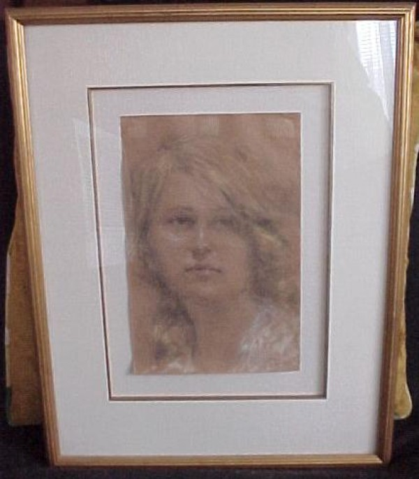 Untitled Pastel on Paper Portrait by William Henry Clapp