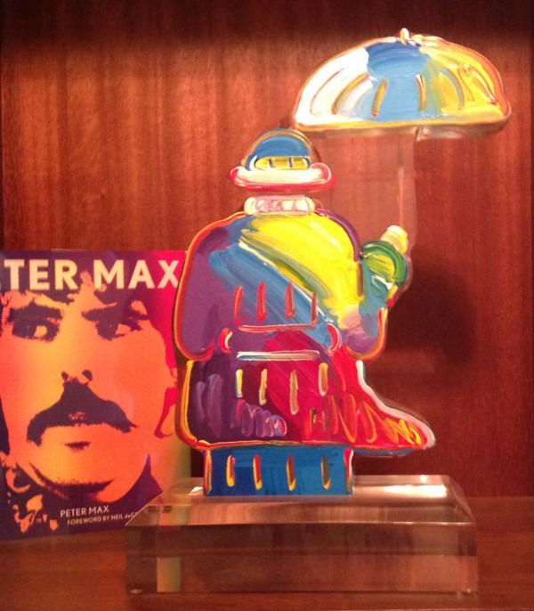 Umbrella Man Version III, #50 unique acrylic sculpture by Peter Max