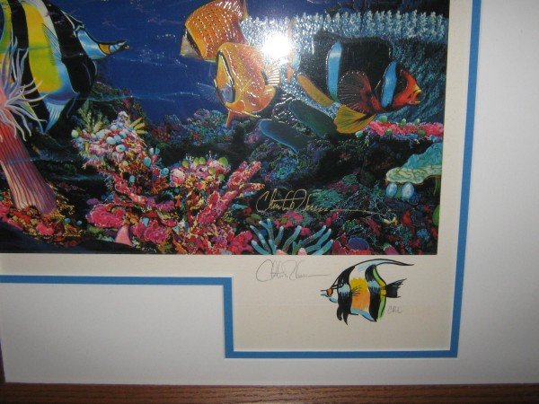 """Remarque for """"Sea Vision"""" 5/50 (Triptych) Mixed Media Graphic With Remarque by Christian Riese Lassen"""