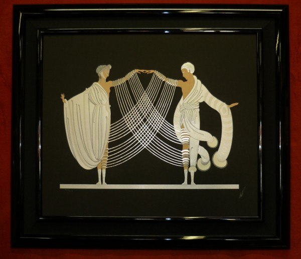 """Marriage Dance"" Framed Embossed Serigraph with Foil Stamping by Erte"
