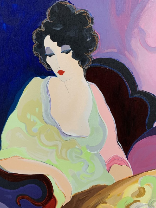 """""""Lady in Yellow"""" Serigraph on Canvas by Itzchak Tarkay"""