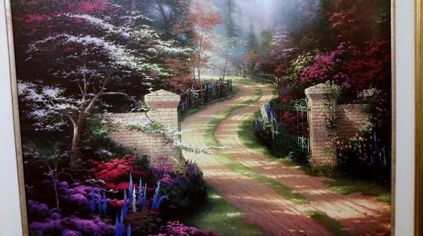 RARE Thomas Kinkade Spring Gate Oil on Canvas 25x34