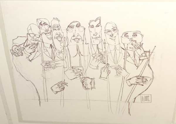 """Dinner Meeting"" Original Drawing on paper by Todd White"