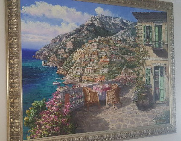 """Balcony on Positano"" Original Oil on Canvas by S. Sam Park"