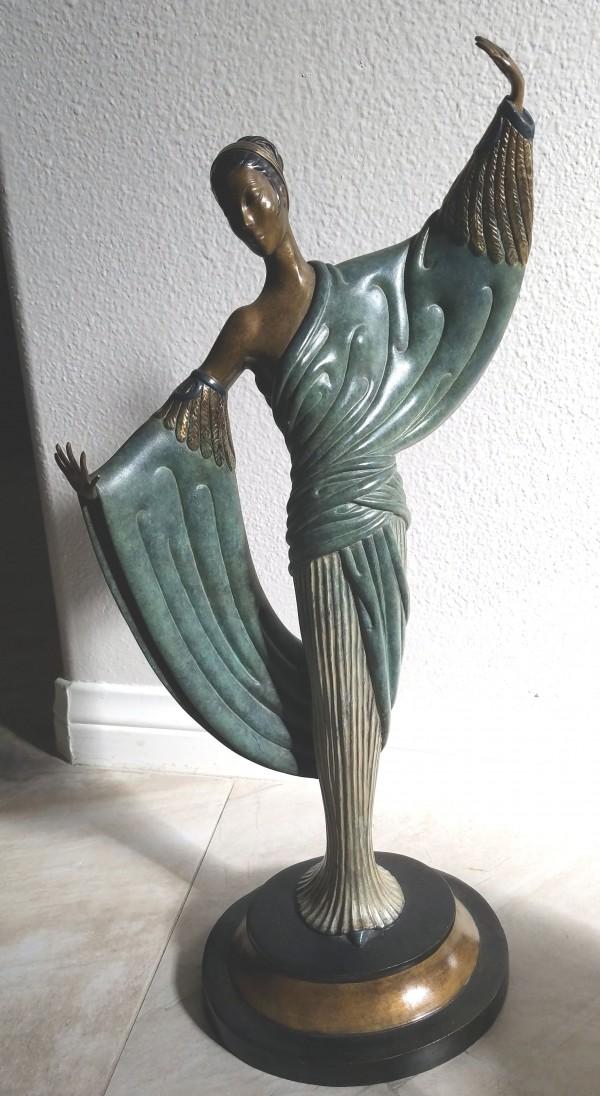 """In The Evening"" Bronze Sculpture by Erte"