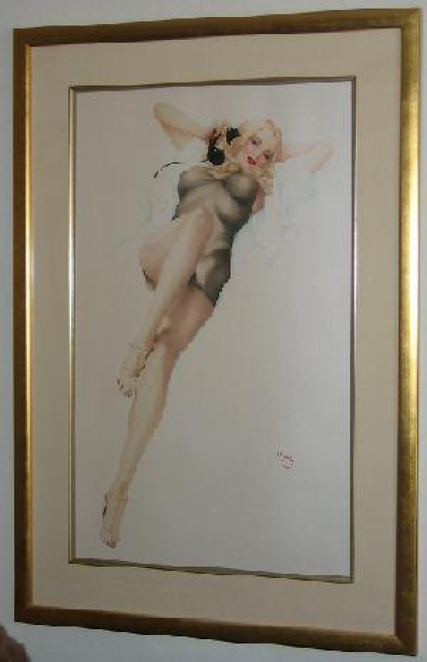 """First Love"" Framed Lithograph/Opalesque by Alberto Vargas"