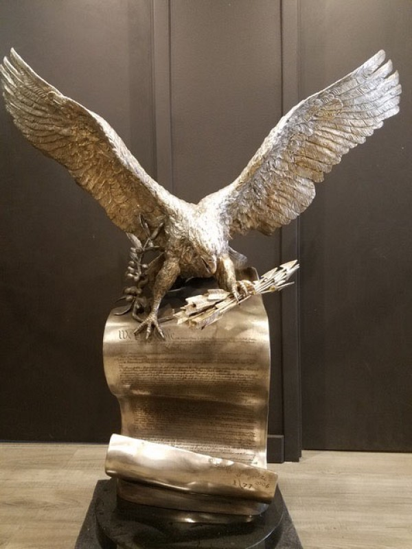 """""""The American Patriot"""" Bronze and Silver Sculpture by Lorenzo Ghiglieri"""