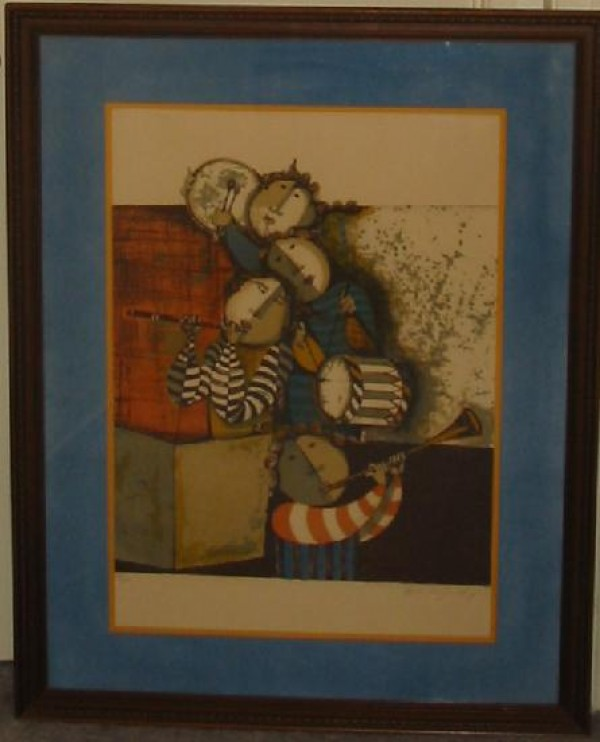 """Musicians - Untitled"" Framed Lithograph by Graciela Rodo Boulanger"