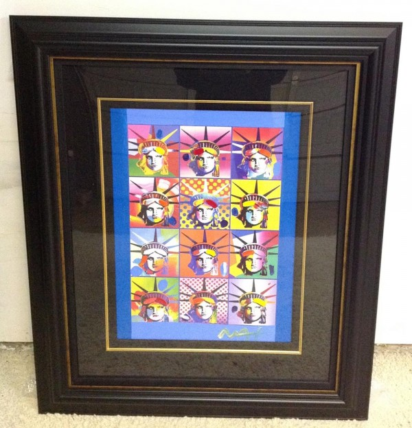 """Liberty and Justice For All III"" Unique Framed Mixed Media Acrylic on Color Lithograph by Peter Max"