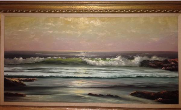 """California Ocean"" Framed Original Oil on Canvas by William DeShazo"