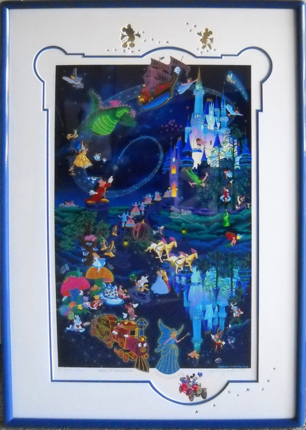 """Tokyo Disneyland 10th Anniversary""  Framed Serigraph with Remarque by Melanie Taylor Kent"