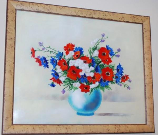 """""""Flowers in Vase"""" Enamel on Copper by Max Karp"""