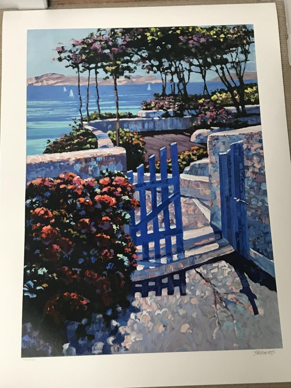 """""""Blue Gate"""" Serigraph on Paper by Howard Behrens"""