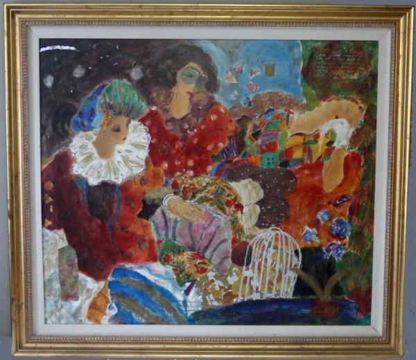 """Bal Masque"" Serigraph on Canvas by Roy Fairchild-Woodard"