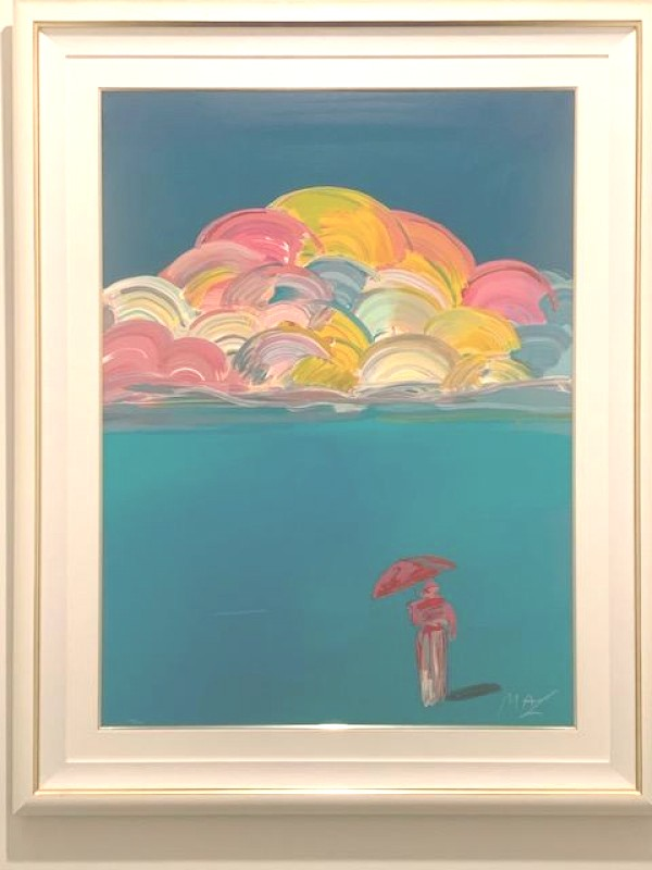 """""""Umbrella Man with Rainbow Sky"""" 1991 lithograph by Peter Max"""