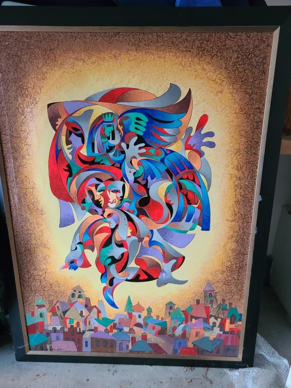 Anatole Krasnyansky bluebird limited edition serigraph on canvas