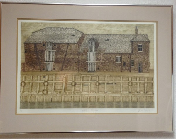 """Waterfront, Kings Lynn"" Framed Color Aquatint with Etching by Valerie Thornton"