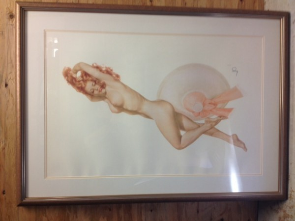 """Legacy Nude #2, """"Pink Hat"""" Framed Lithograph/Arches by Alberto Vargas"""