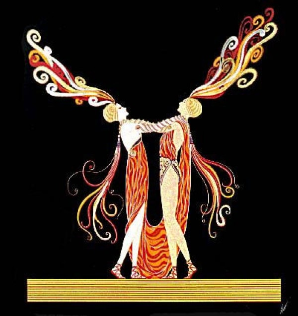 """""""Kiss of Fire"""" Embossed Serigraph with Foil Stamping by Erte"""