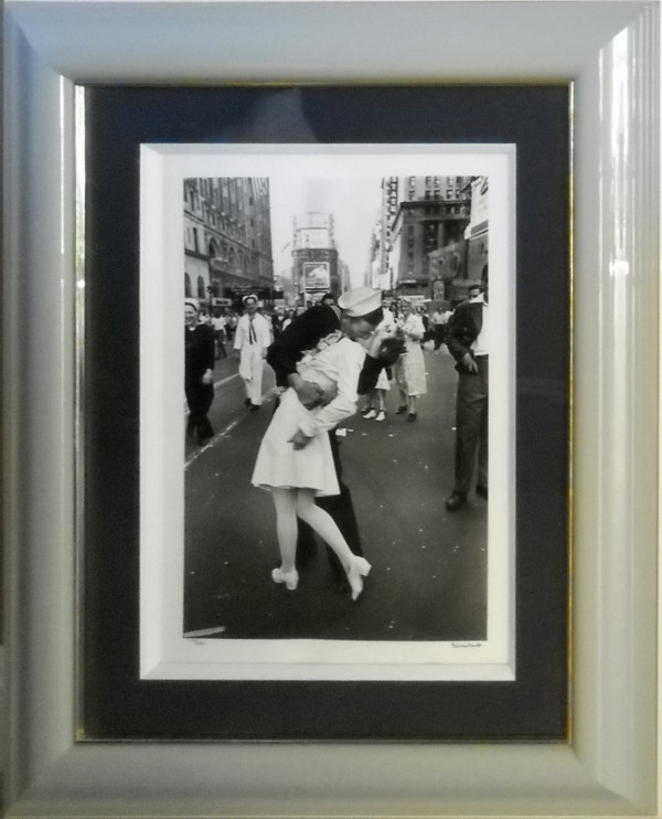 """VJ Day, The Kiss""  Framed Silver Gelatin Photograph by Alfred Eisenstaedt"