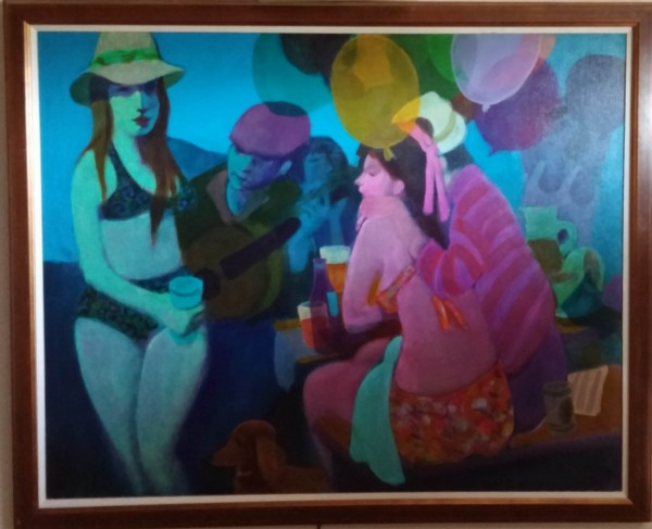 """Picnic '79"" Framed Original Acrylic/Canvas by Gustav Likan"