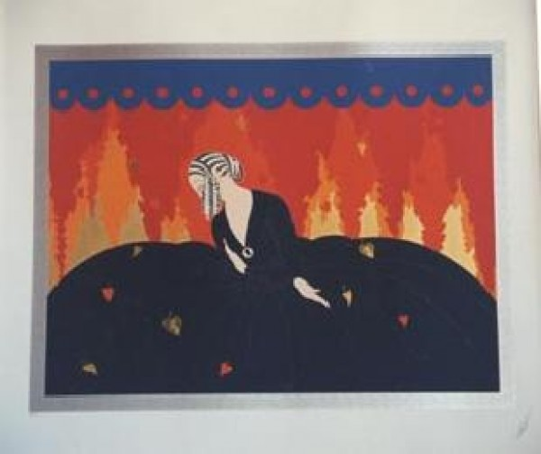 """""""Memories"""" Embossed Serigraph with Foil Stamping on Paper by Erte"""