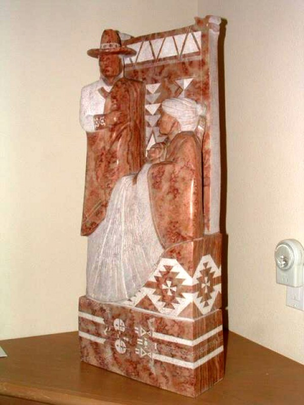 """Navajo Way of Life"" Alabaster Sculpture by Alvin Marshall"