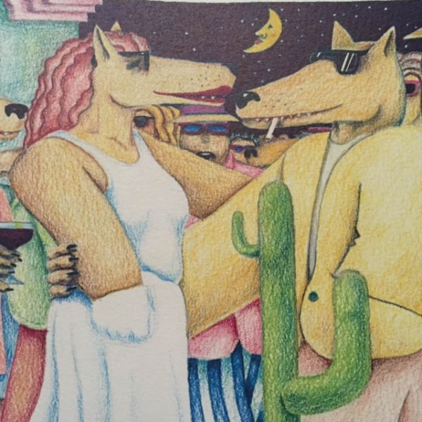 """""""Coyote"""" Lithograph by Marcus Pierson Detail"""