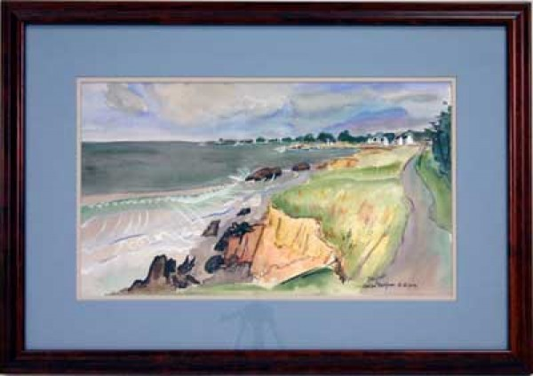 """Sea Shore of Brittany"" Framed Original Watercolor by Alexandre Minguet"