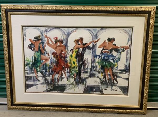 """Sicilian Defense"" Watercolor with Mixed Media by Misha Lenn"