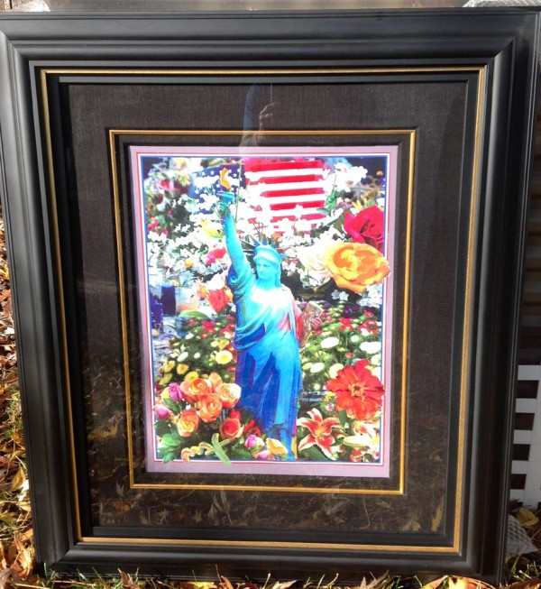 """Land of the Free, Home of the Brave II"" Framed Unique Mixed-Media Acrylic on Lithograph by Peter Max"