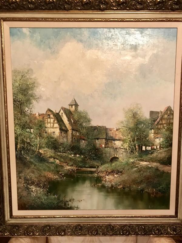"""French Village"" Original Oil on Canvas by Willi Bauer"