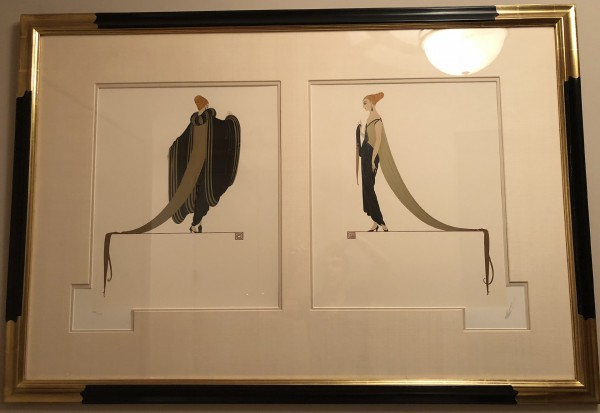 """Ready for the Ball"" Diptych Framed Serigraphs on Paper by Erte"