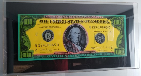 """""""Old $100 Bill (American Money)"""" Embellished Mixed Media Silkscreen on Canvas by Steve Kaufman"""