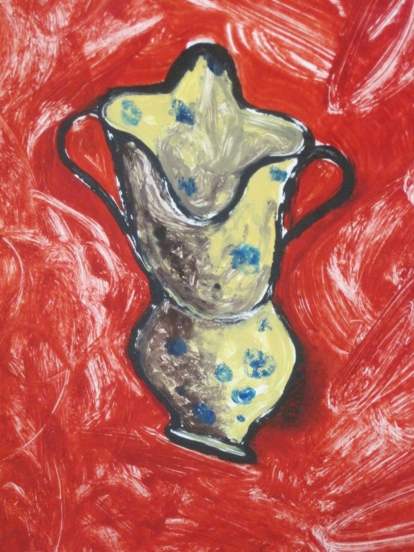 """Calabrian Jug"" 1990 Original Acrylic on Paper by Italo Scanga"